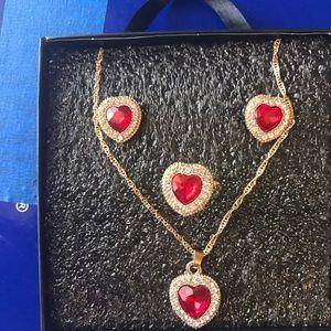 Jewelry Set Ruby Zirconia